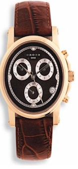 wmaq51 crs mens milan chrono watch w/brown lthr strp