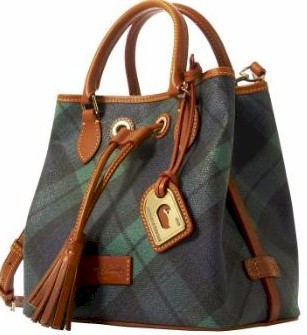 3P892 Dooney & Bourke Plaid Small Drawstring