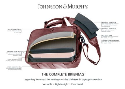 #205 Johnston and Murphy underarm leather Briefcase
