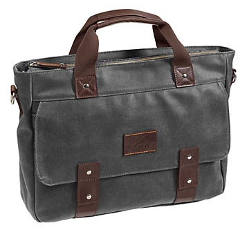 46-15609 johnston and murphy canvas zip top laptop briefcase