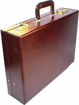 3 inch Top Grain Leather Attache Case in Brown