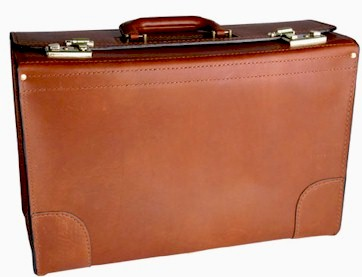 C1066 20 inch Top Grain Leather Catalog Case with Combination locks
