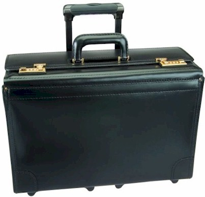 C108418 18inch Leather Catalog Case on Wheels