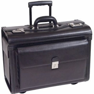 C1061BK Leather Catalog Case on Wheels